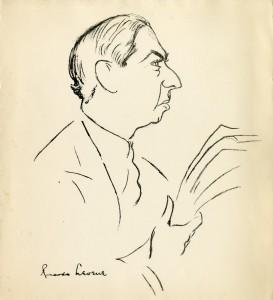 Caricatura de Ricardo Levene en Pelele. Gente conocida: álbum : primera serie. [Buenos Aires]: [s.n.].