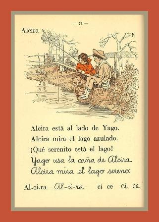 Hoja del libro de lectura Veo y Leo de Ernestina López, editado en 1920 por la Editorial Coni, en dónde figura la lectura recomendada, Alcira.