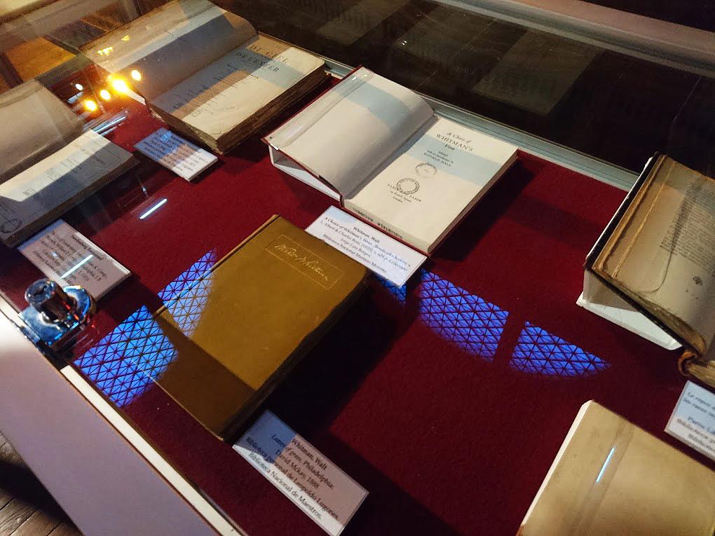 La fotografía muestra libros expuestos en una vitrina.