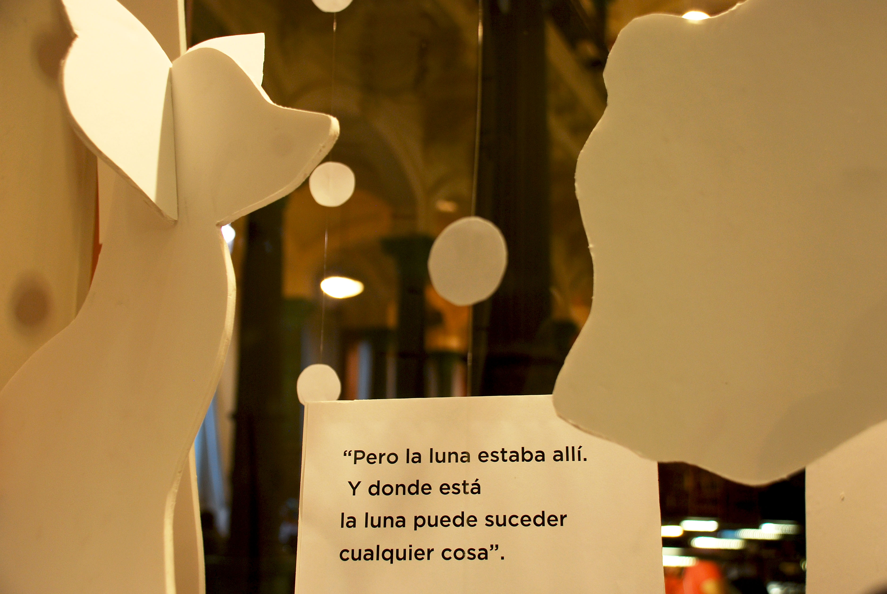 Detalle de la representación de un pasaje del cuento Blanco, de Liliana Bodoc.