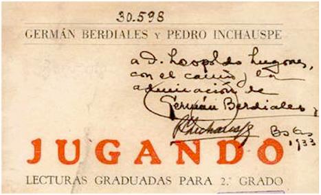 Dedicatoria de Germán Berdiales a Leopoldo Lugones