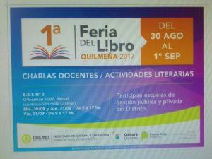 Flyer de la primera Feria del Libro Quilmeña 2017